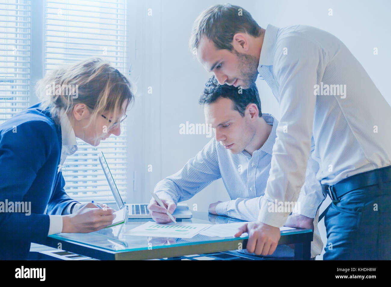 business team working on startup project development, group of people meeting in modern bright office - Stock Image