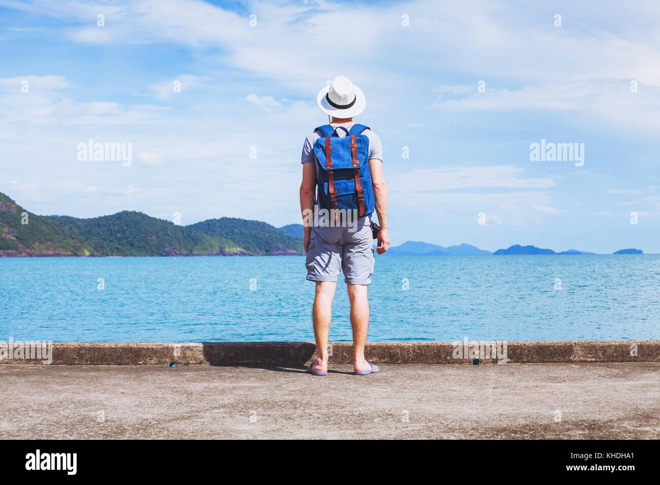 tourist traveler with backpack ready for new travel adventure, background with copy space - Stock Image