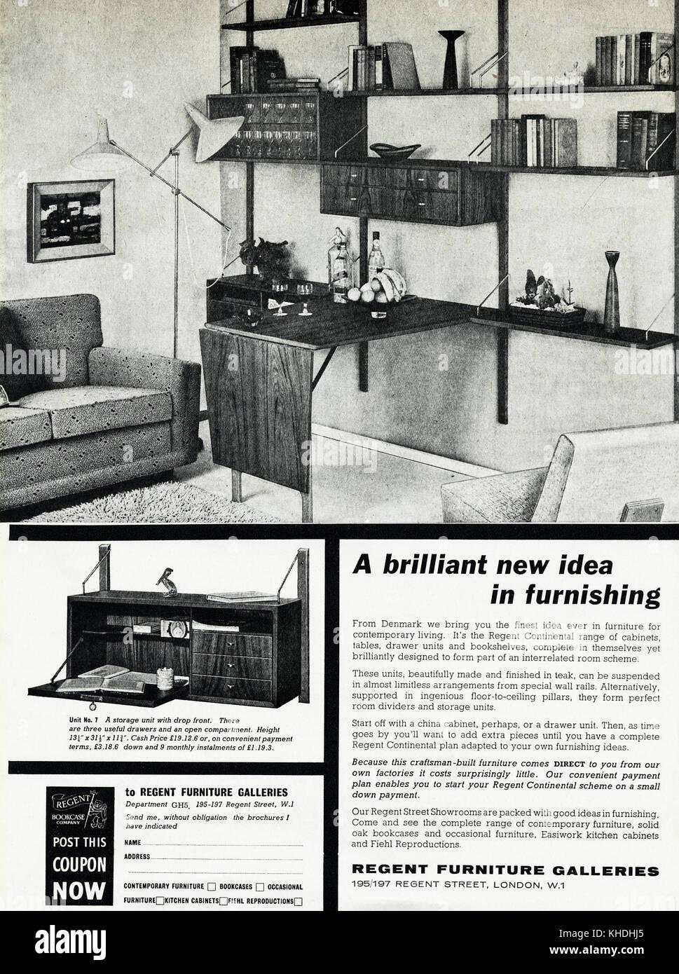 1950s old vintage original advert british magazine print advertisement advertising home furnishing by regent furniture galleries of london england uk dated - Home Furnishing Magazine