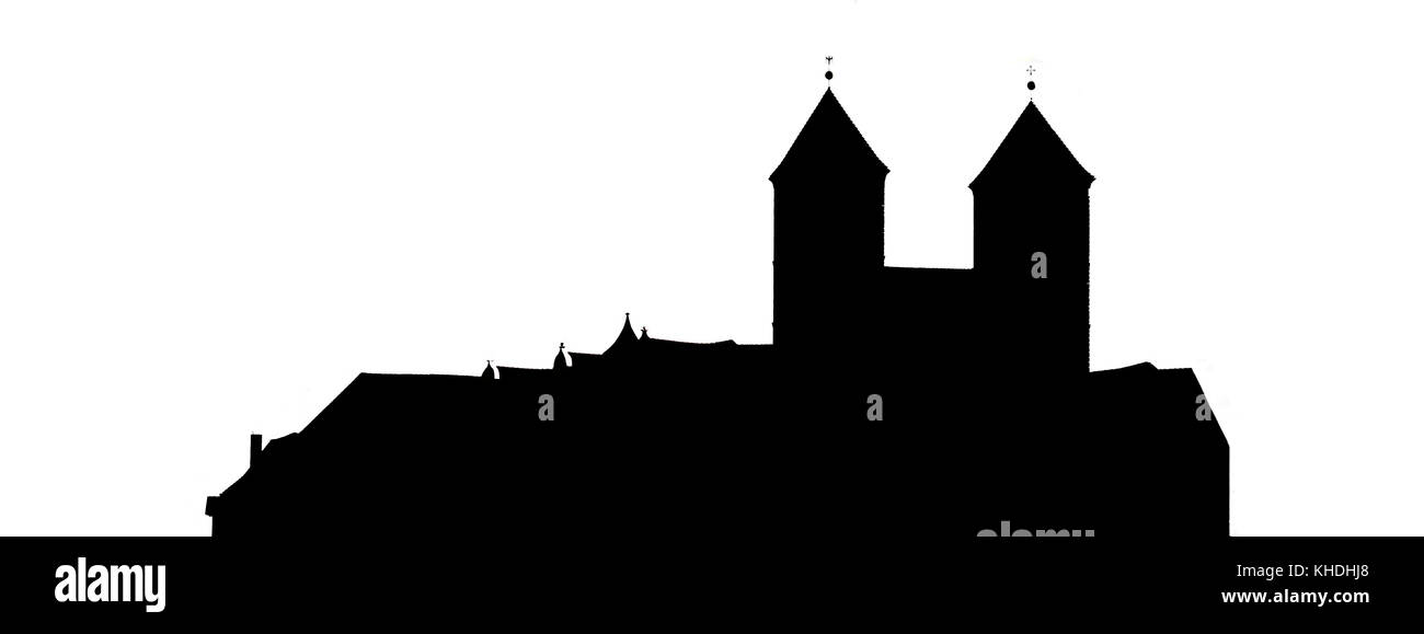 Sicht auf das Quedlinburger Schloss vom Münzberg - Stock Image