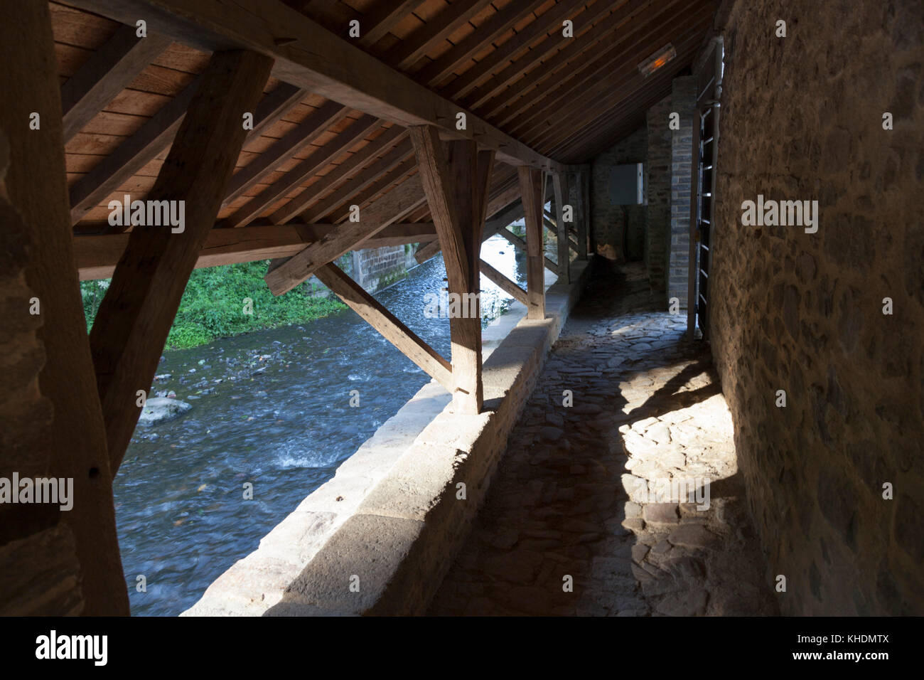 The inside of wash  houses, at Vannes (Morbihan - France). Located below ramparts, they mirror in the Marle river. - Stock Image