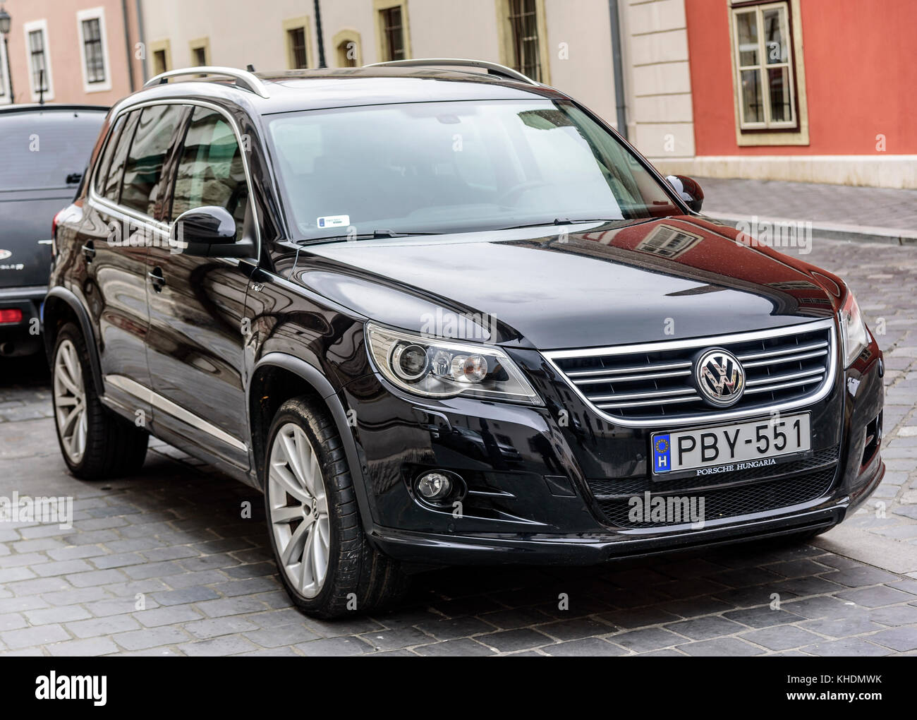 Volkswagen Tiguan Parked on the streets of Budapest. - Stock Image