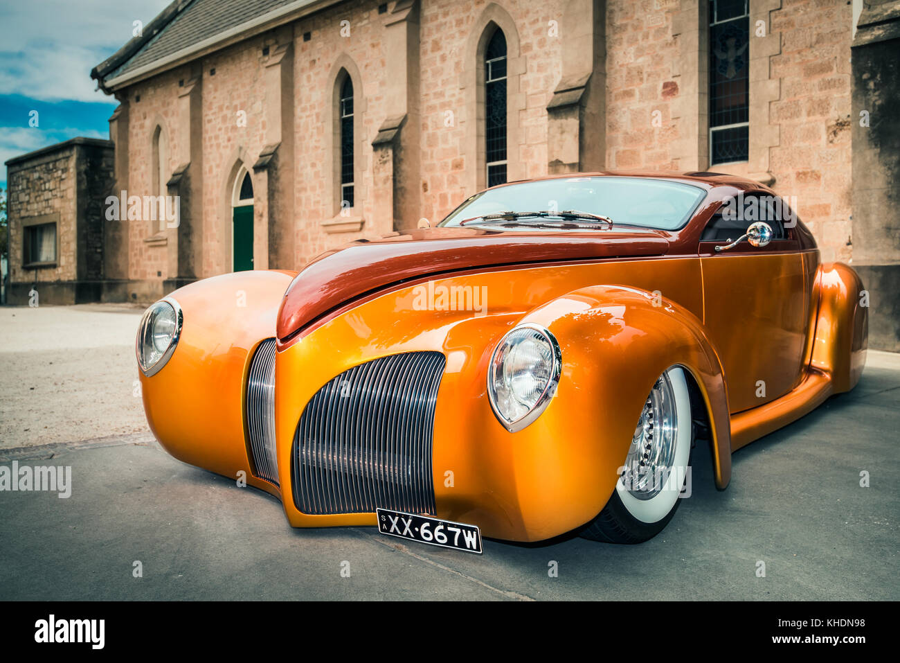 Barossa Valley, South Australia, January 16, 2016: 1939 Lincoln Zephyr car parked near old church at main street - Stock Image