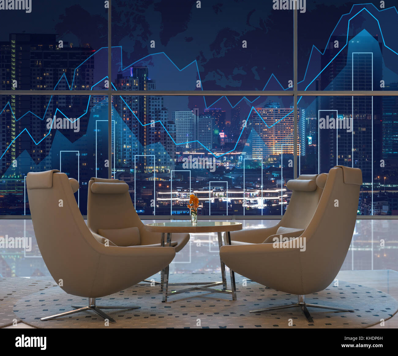Lobby area of a hotel which can see Trading graph on the cityscape at night and world map background,Business financial - Stock Image