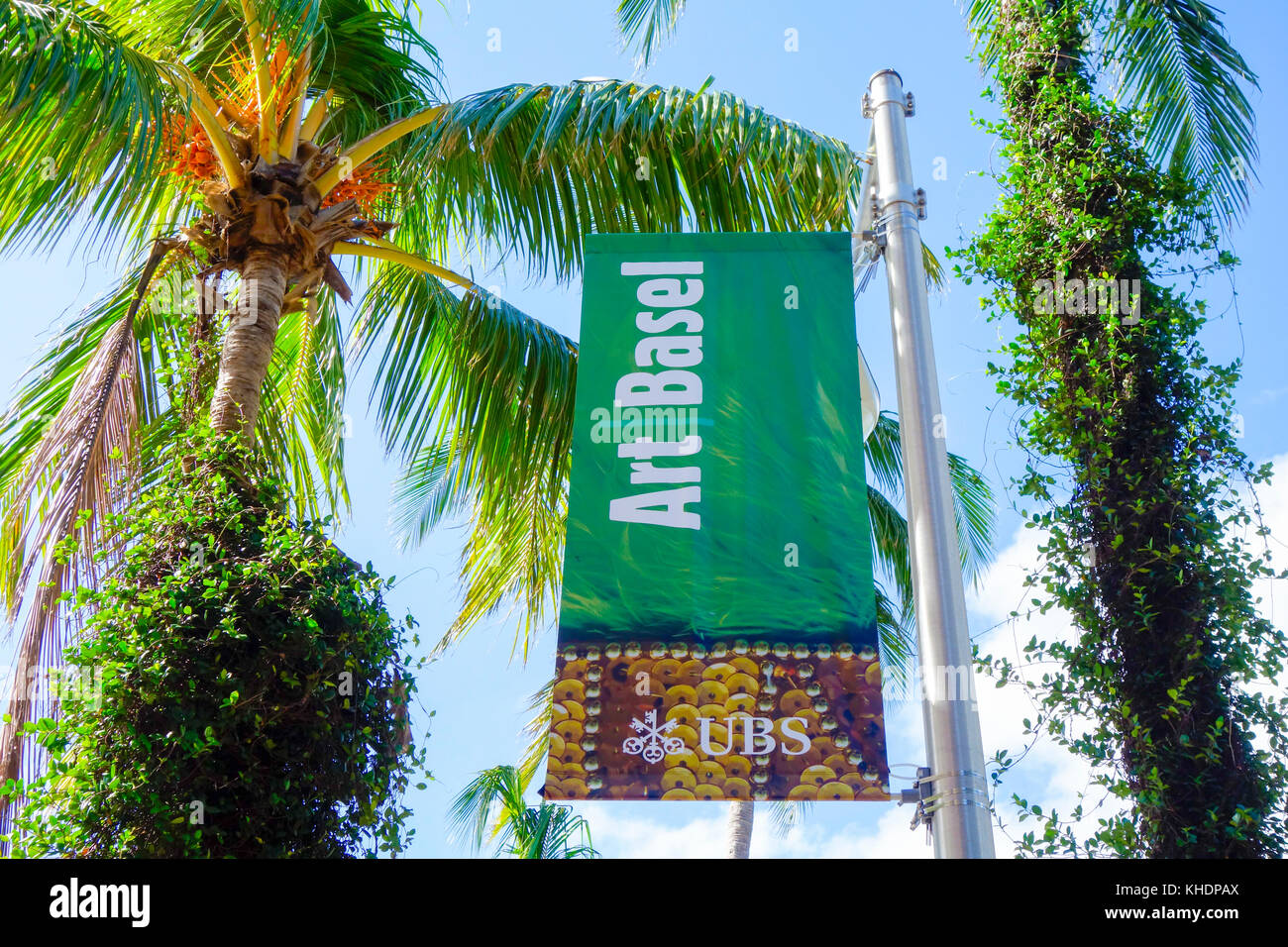 Art Basel 2017 Sign on Lincoln Road Mall, South Beach Miami, USA. Stock Photo
