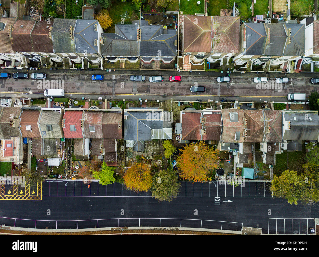 Drone topdown view of residential housing in Gravesend, Kent, UK - Stock Image