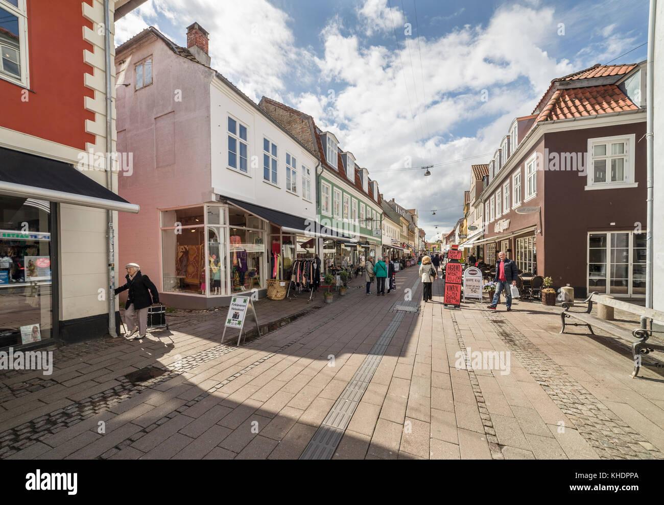Stengade shopping and pedestrian street in the medieval town center of Helsingor / Helsingør, Denmark, Scandinavia. - Stock Image
