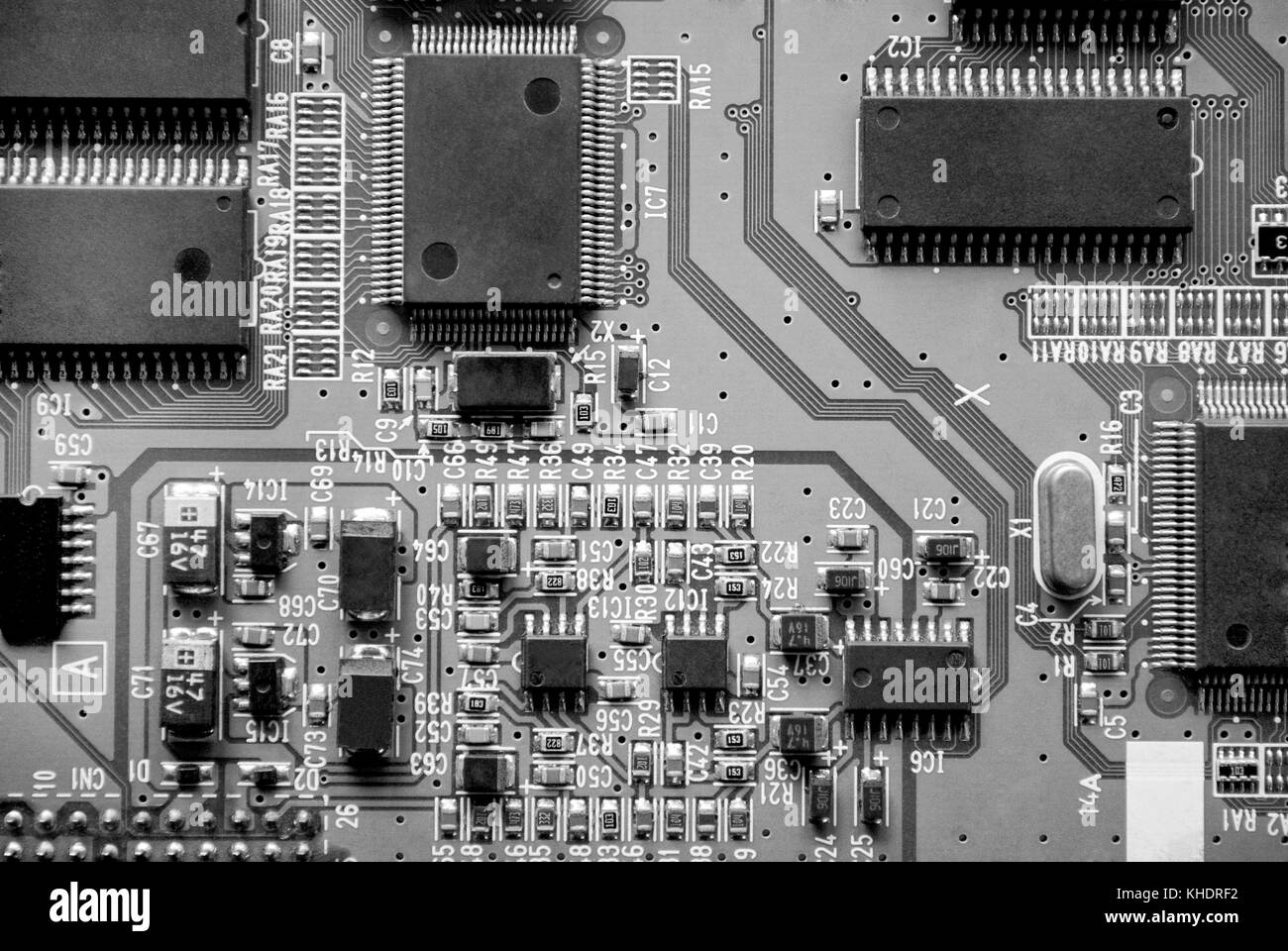 The computer electronic card with chips, microprocessors, transistors, explorers and other electronic parts. - Stock Image