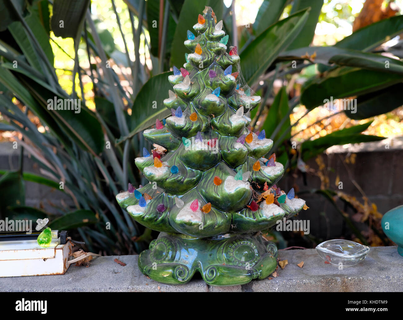 Vintage Ceramic Christmas Tree With Colored Lights In A California
