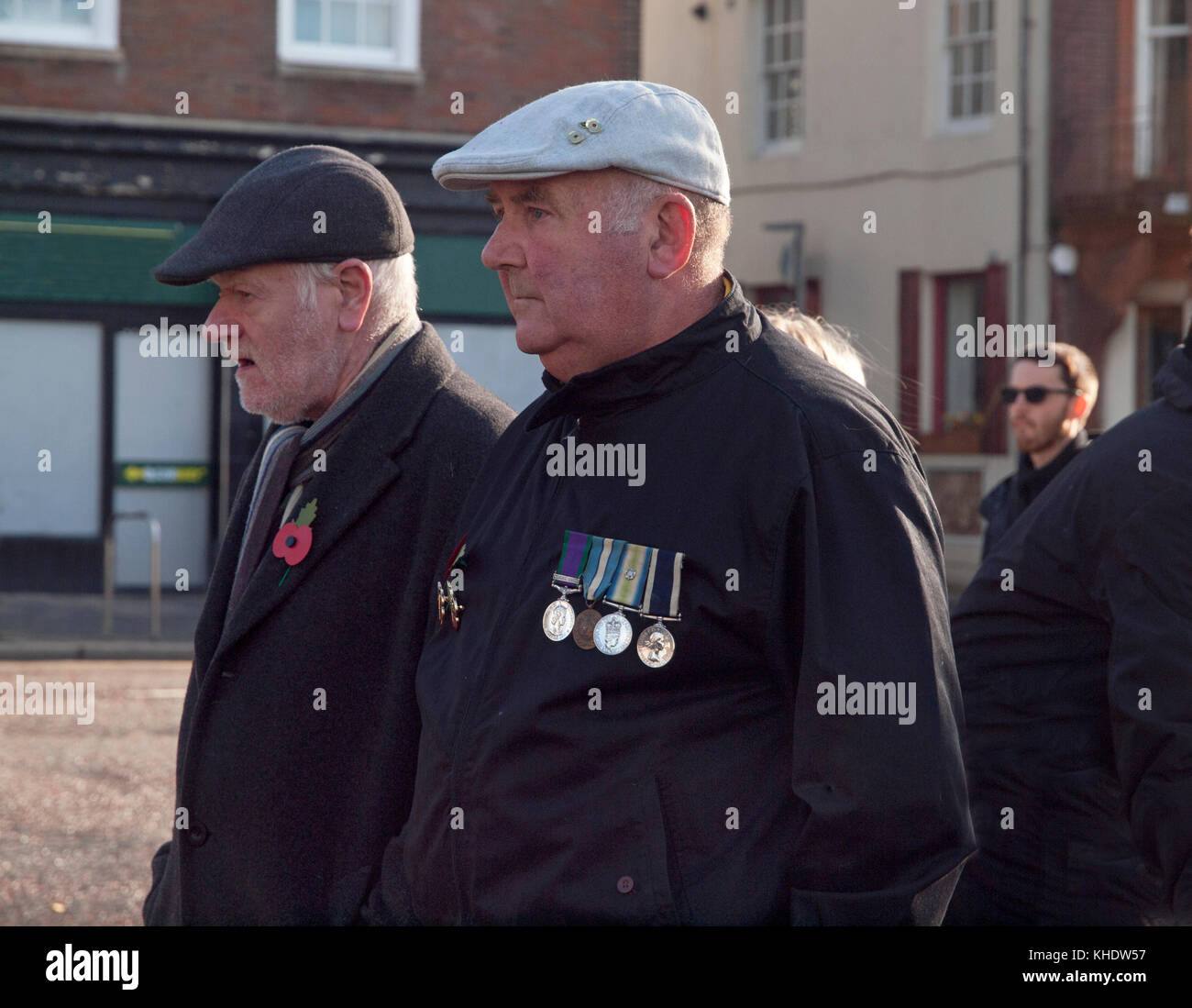 Ex-servicemen with their medals at a Remembrance Day ceremony in central Brighton - Stock Image
