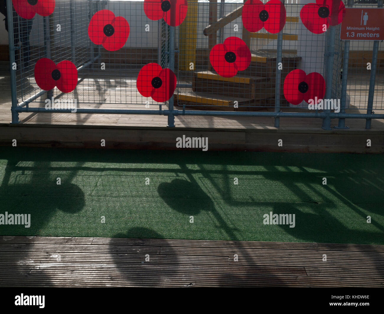 Giant poppies casting shadows on Remembrance day in Brighton - Stock Image
