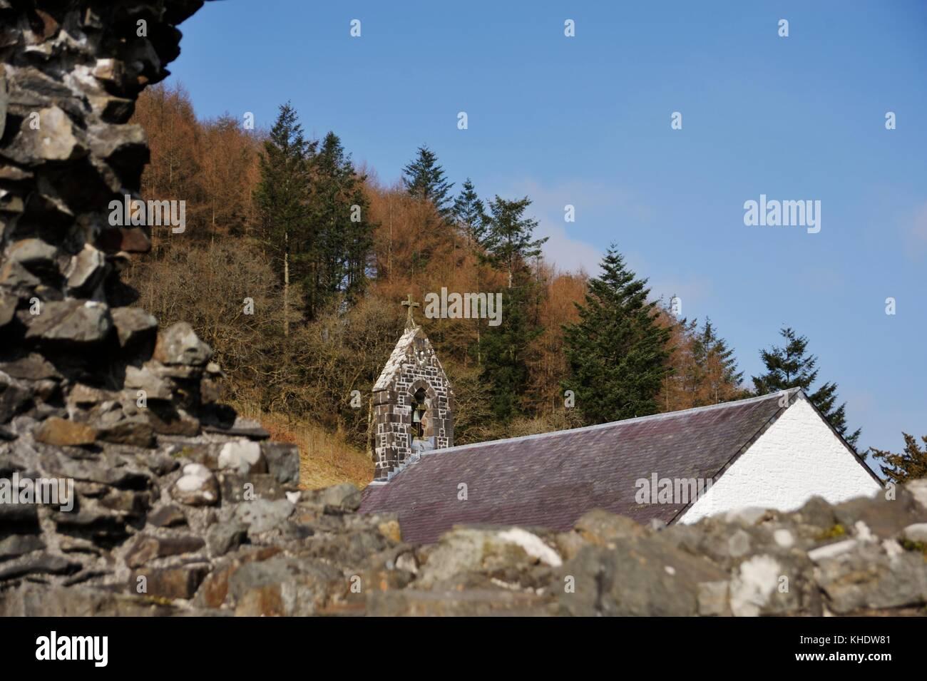 Talyllychau, Talley Abbey ruins framing St Michaels Church, built ...