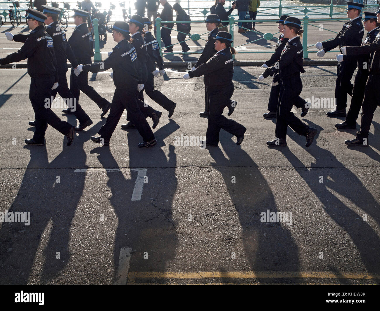 Police cadets march along the Brighton seafront on Remembrance Day - Stock Image