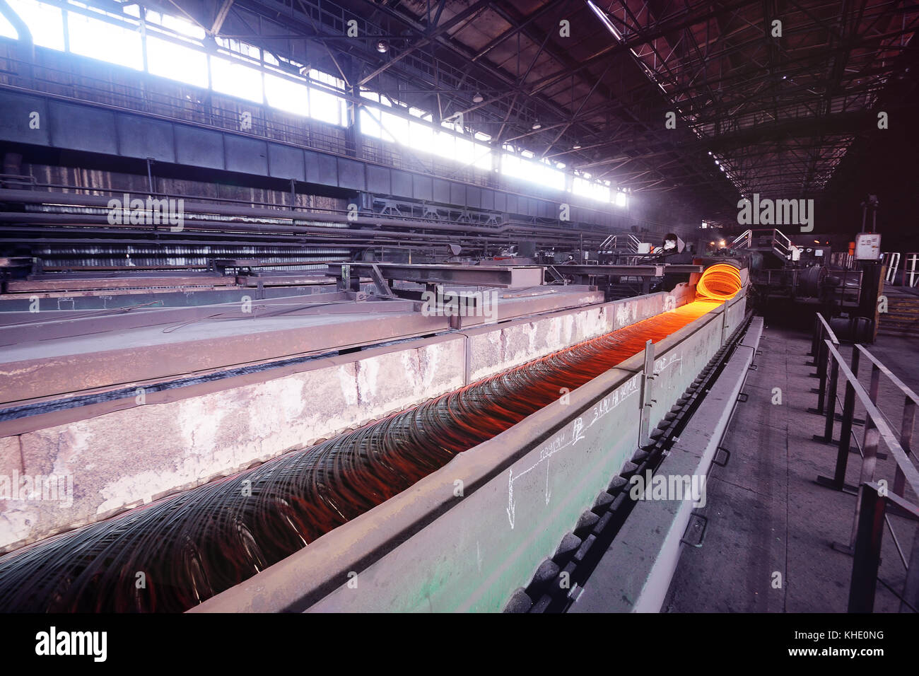 Production of metal wire rod at the metallurgical plant Stock Photo