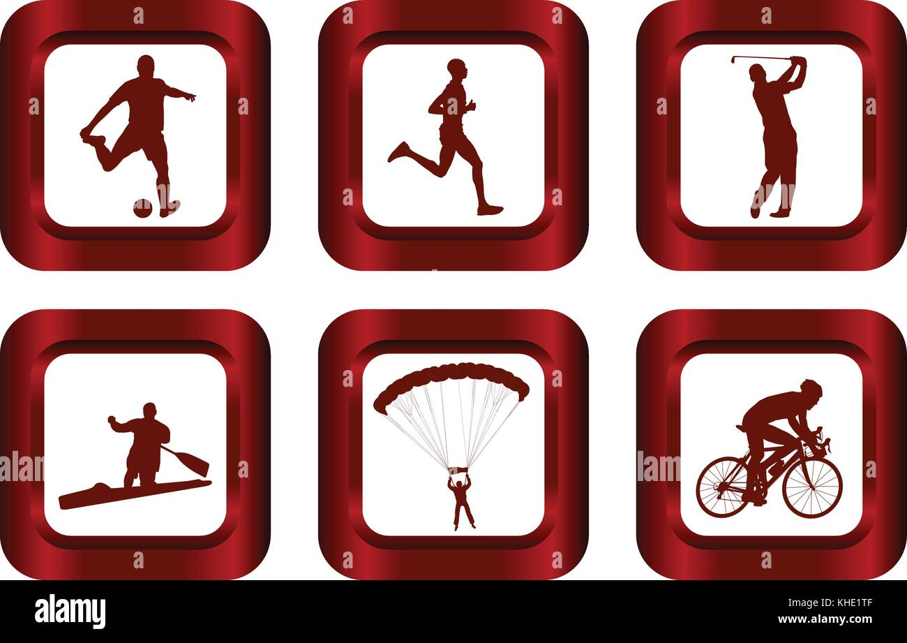 set of sport icons - vector - Stock Vector