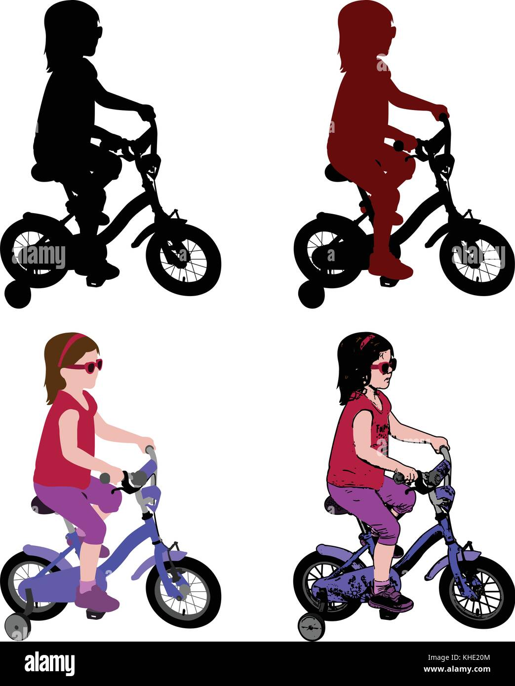 little girl riding bicycle silhouette and illustration - vector - Stock Vector