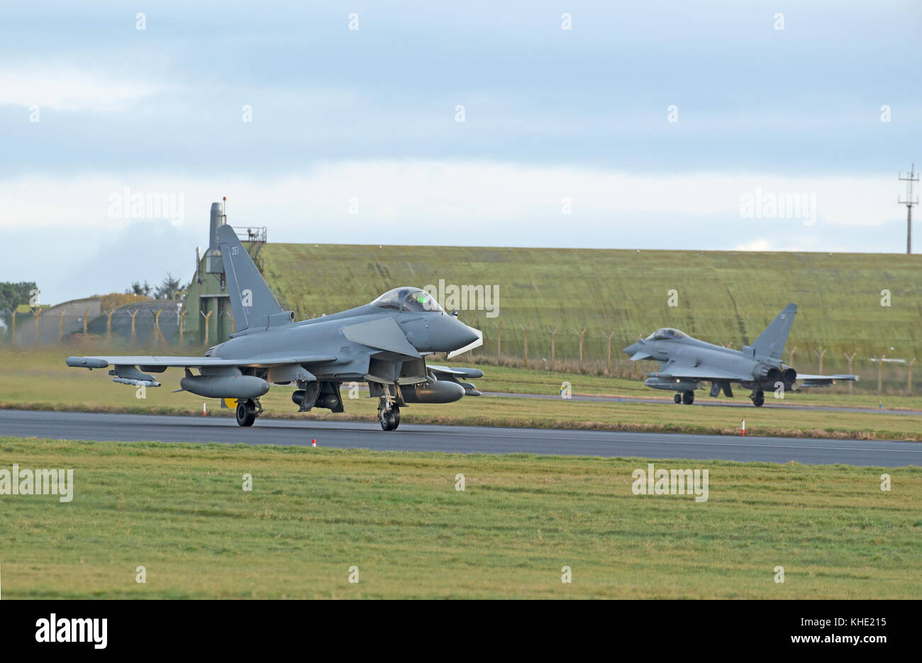The UKs Eurofighter Typhoon a twin engined Canard-delta Wing fast jet fighter some of which are based at RAF lLossiemoputh Stock Photo