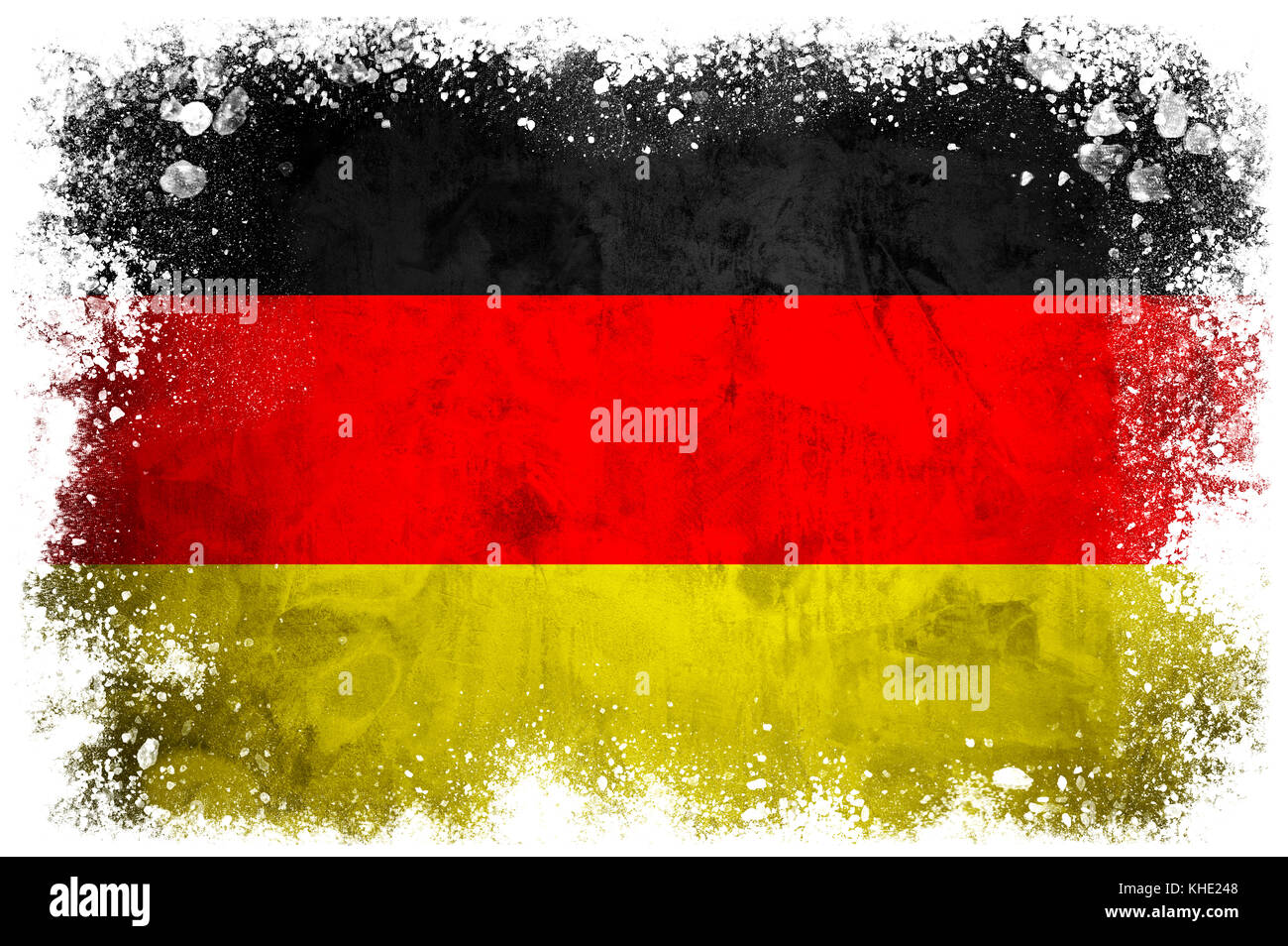 National flag of Germany on grunge concrete background - Stock Image