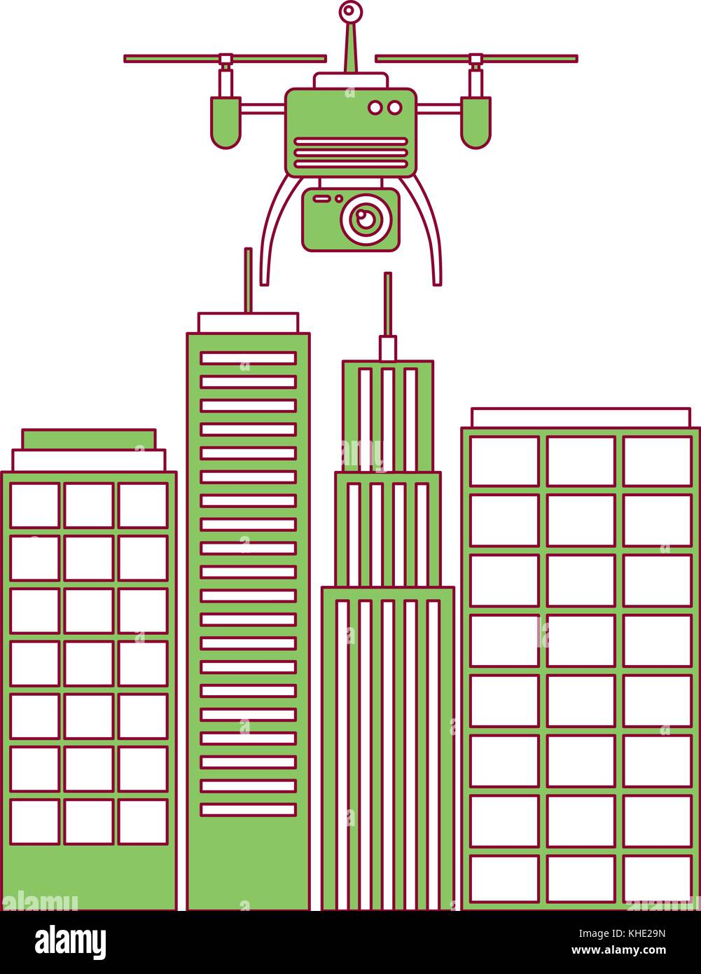 drone with camera flying on city landscape buildings - Stock Vector
