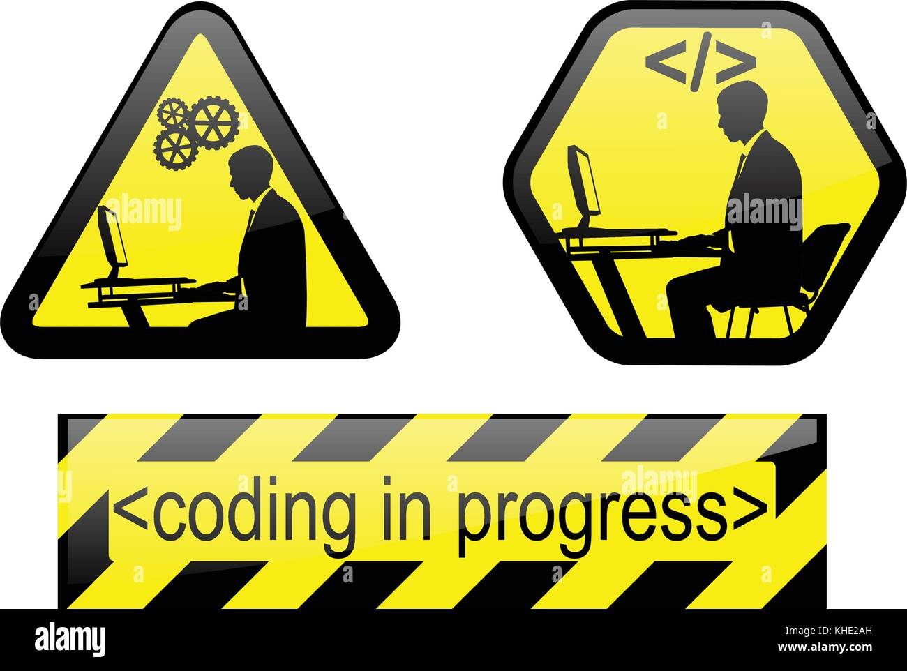coding in progress signs - vector - Stock Vector