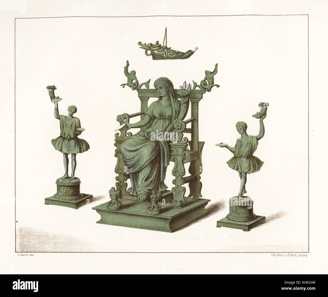 Bronze statues of house gods from the Thermae bathhouse at Regio IX, Insula IV, 5.  Chromolithograph by J.G. Bach - Stock Image
