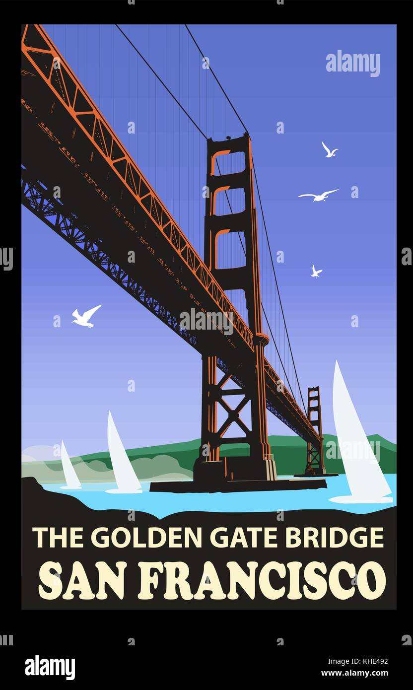 The golden gate bridge, San Francisco - vector illustration - Stock Vector