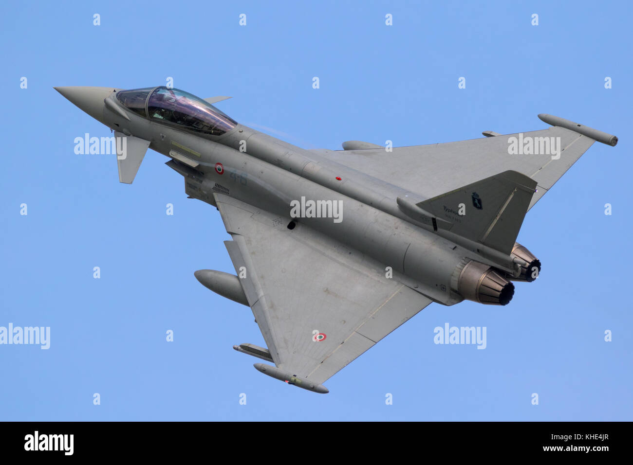 FLORENNES, BELGIUM - JUN 15, 2017: Italian Air Force Eurofighter Typhoon fighter jet aircraft in flight. Stock Photo