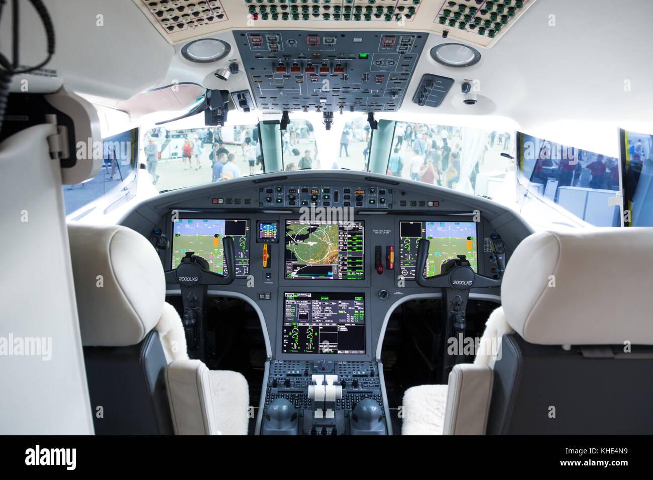 PARIS, FRANCE - JUN 23, 2017: Modern glass cockpit of the Dassault Falcon 2000LXS business jet at the Paris Air - Stock Image