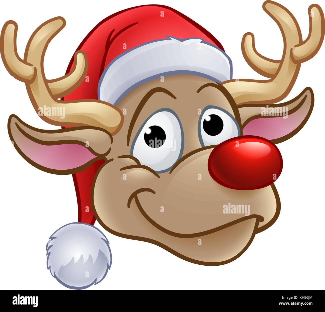 Reindeer in Christmas Santa Hat - Stock Image