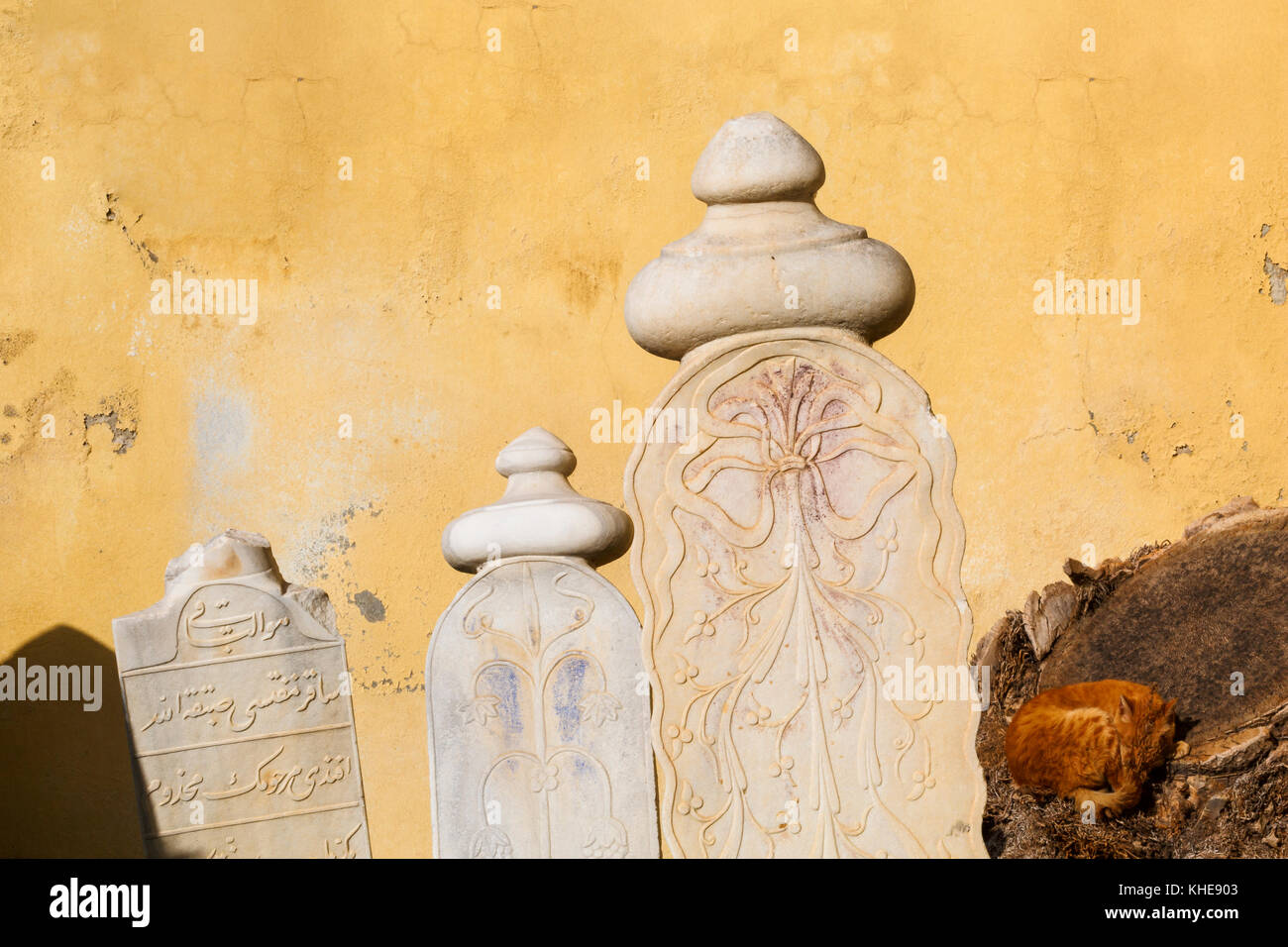 Turkish tombstones in the old town of Chios. - Stock Image