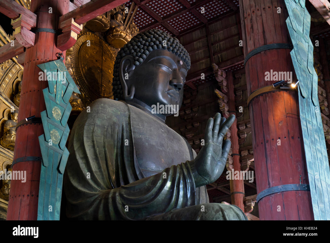 Nara, Japan -  May 29, 2017: The world's largest bronze statue of Buddha in the Great Buddha Hal, Daibutsuden - Stock Image