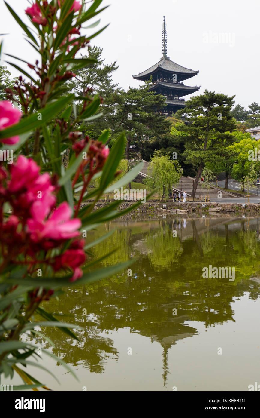 Nara, Japan -  May 30, 2017: View of the Five Storied Pagoda of the Kofukuji Temple in Nara in spring from the Sarusawa - Stock Image