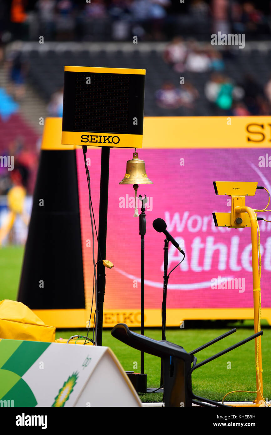 Last lap bell with timing equipment. Seiko. London Stadium athletics. Space for copy - Stock Image