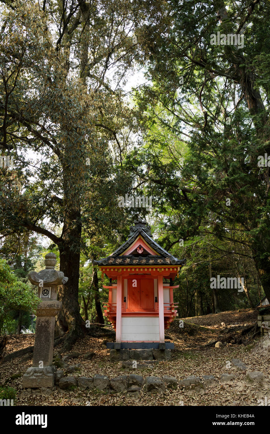 Nara - Japan, May 31, 2017: Shinto shrine in the the Kasugayama Primeval Forest, registered as a UNESCO World Heritage - Stock Image