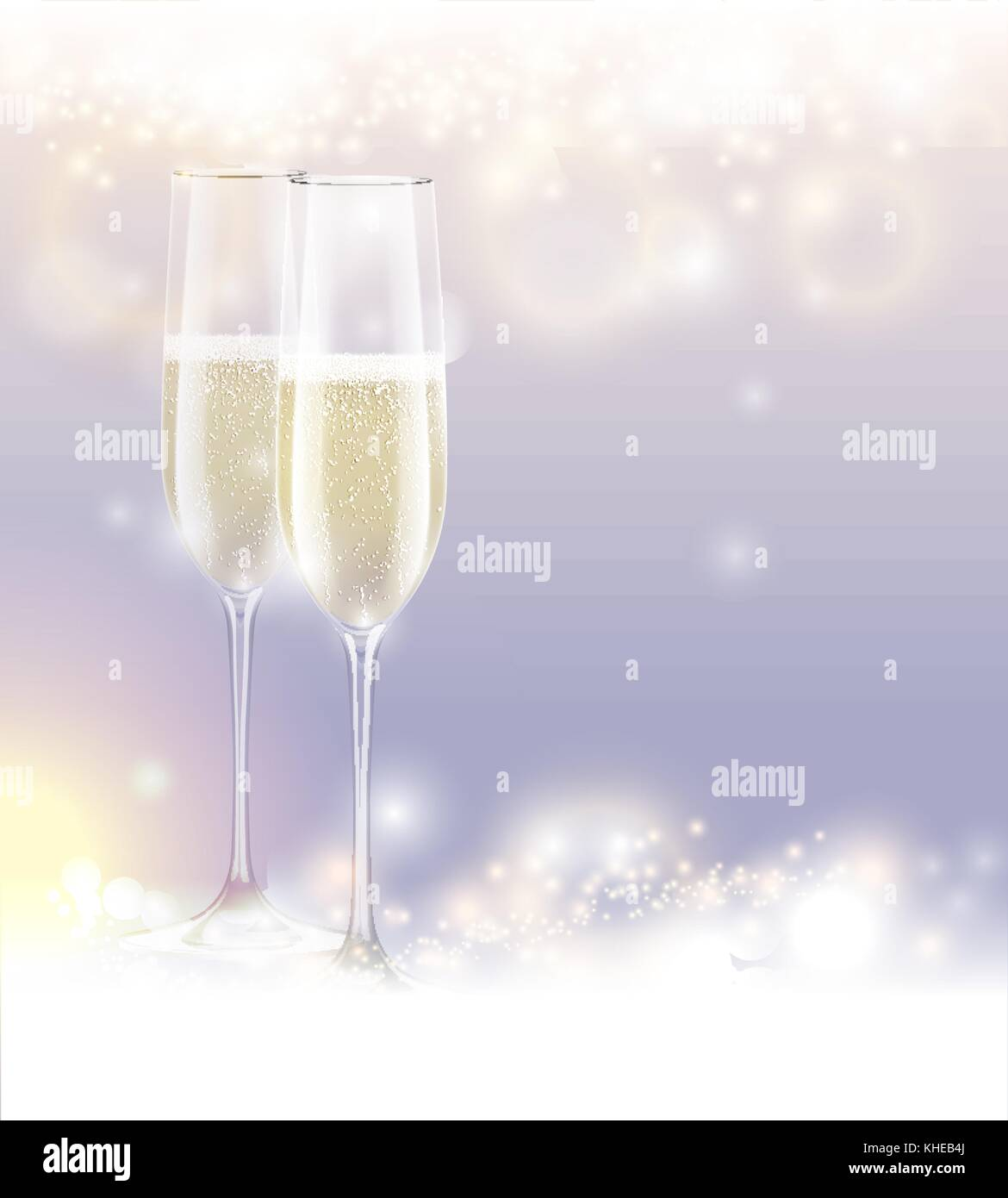 new year eve celebration background two glasses champagne abstract sparkling light magic glitter glow bright festive holiday poster with sparks