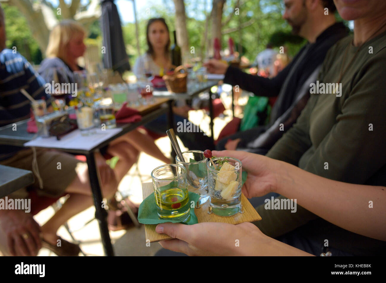 """Food and Wine Pairing"" lunch in Gigondas at the Caveau des Gourmets, France - Stock Image"