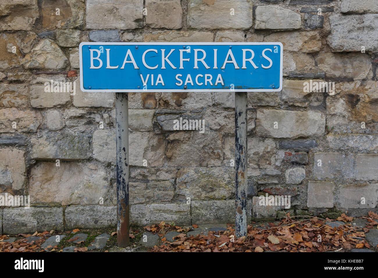 Road sign for Blackfriars, the Via Sacra, Gloucester, Gloucestershire, England, UK - Stock Image