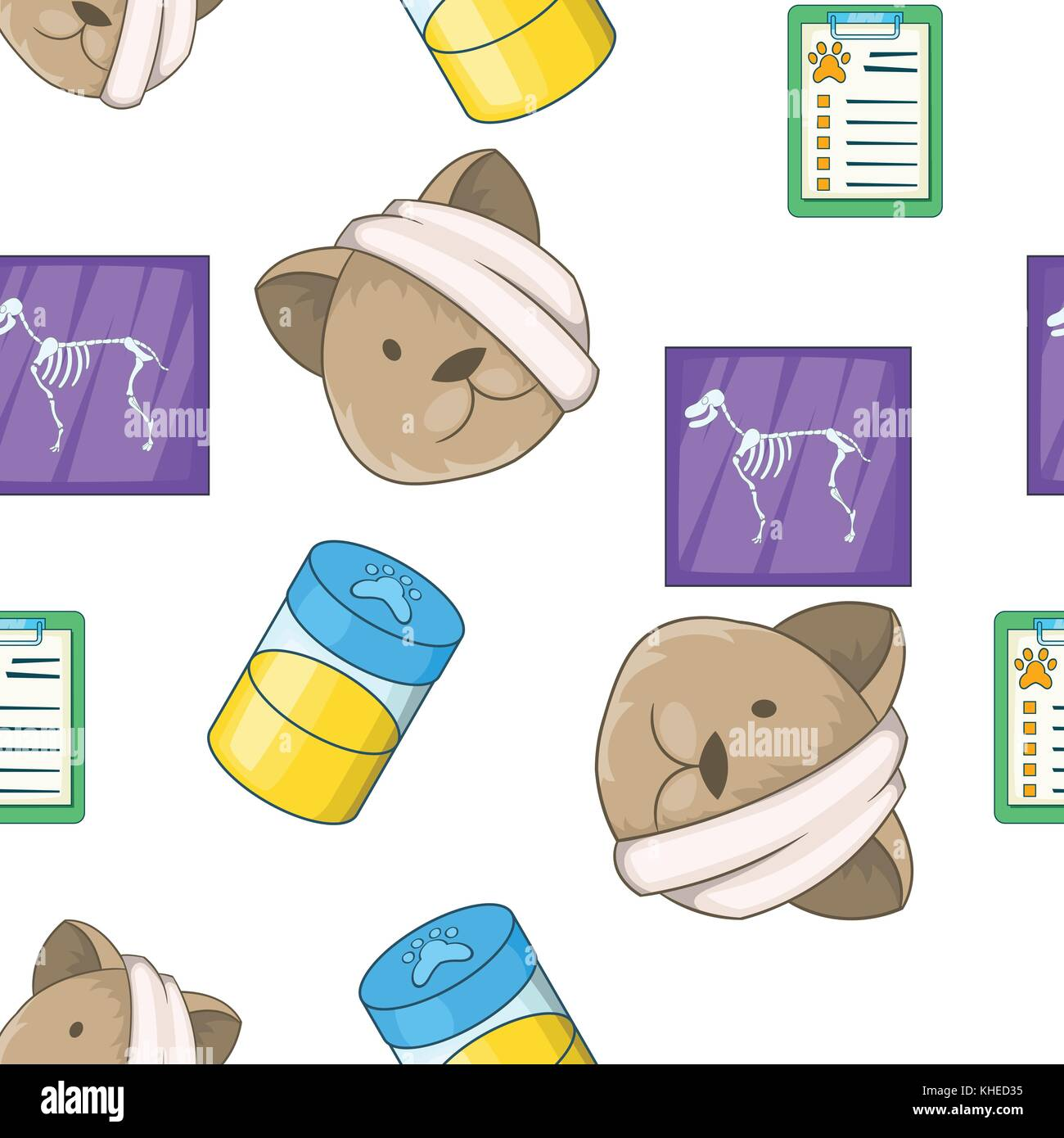 Veterinary pattern, cartoon style - Stock Vector