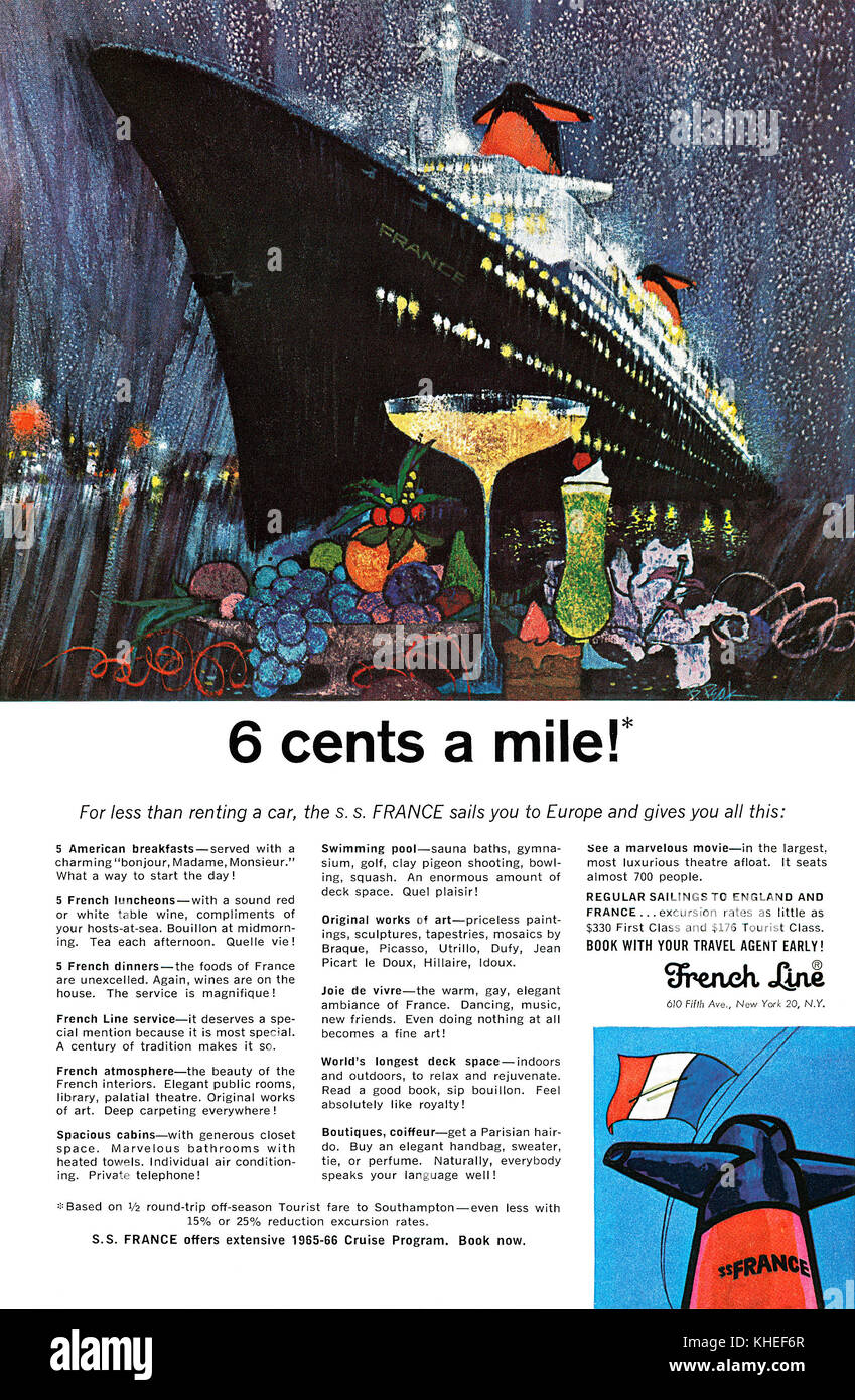 1965 U.S. advertisement for the French Line, featuring the S.S. France ship. Stock Photo
