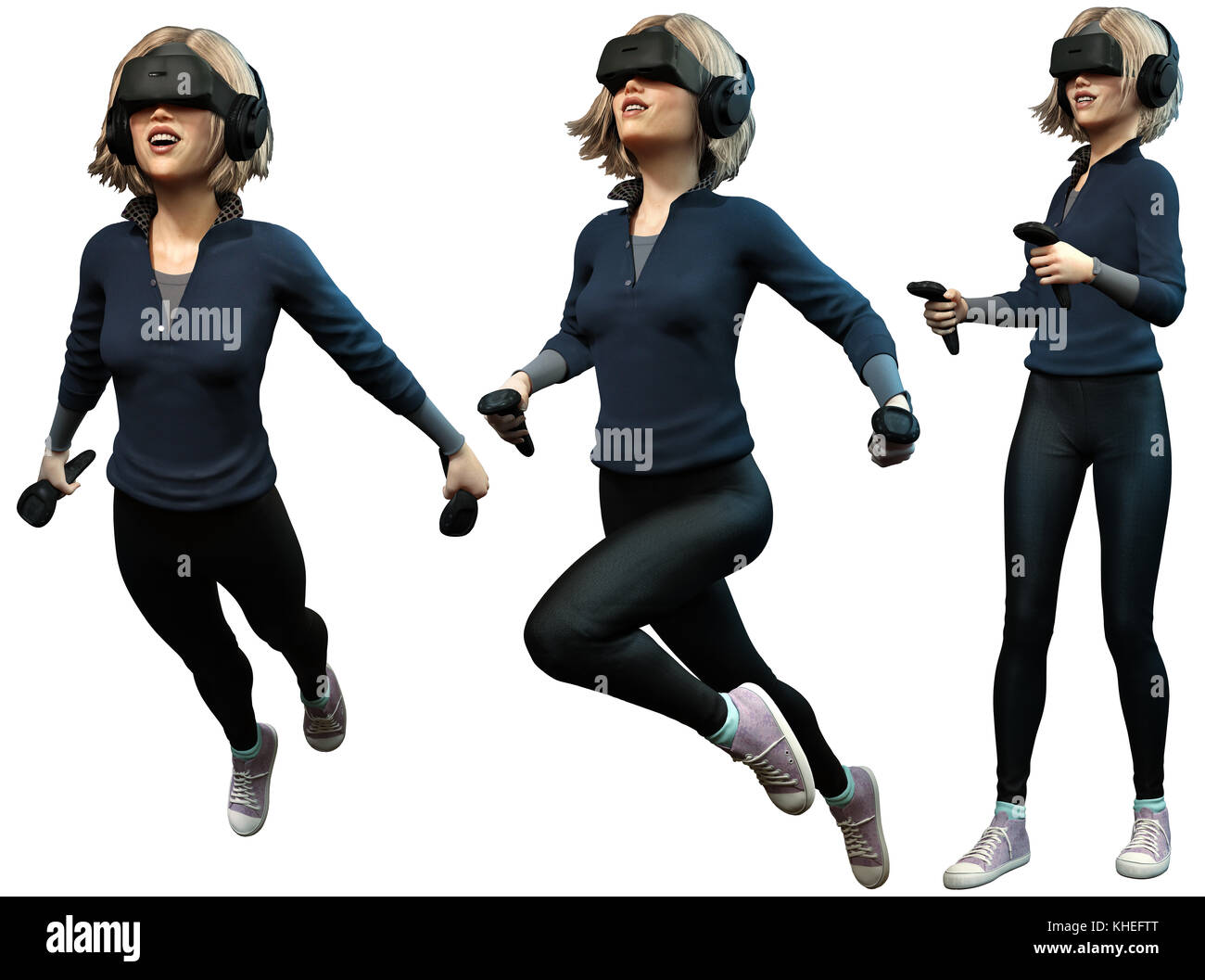 Young woman wearing virtual reality headset - Stock Image