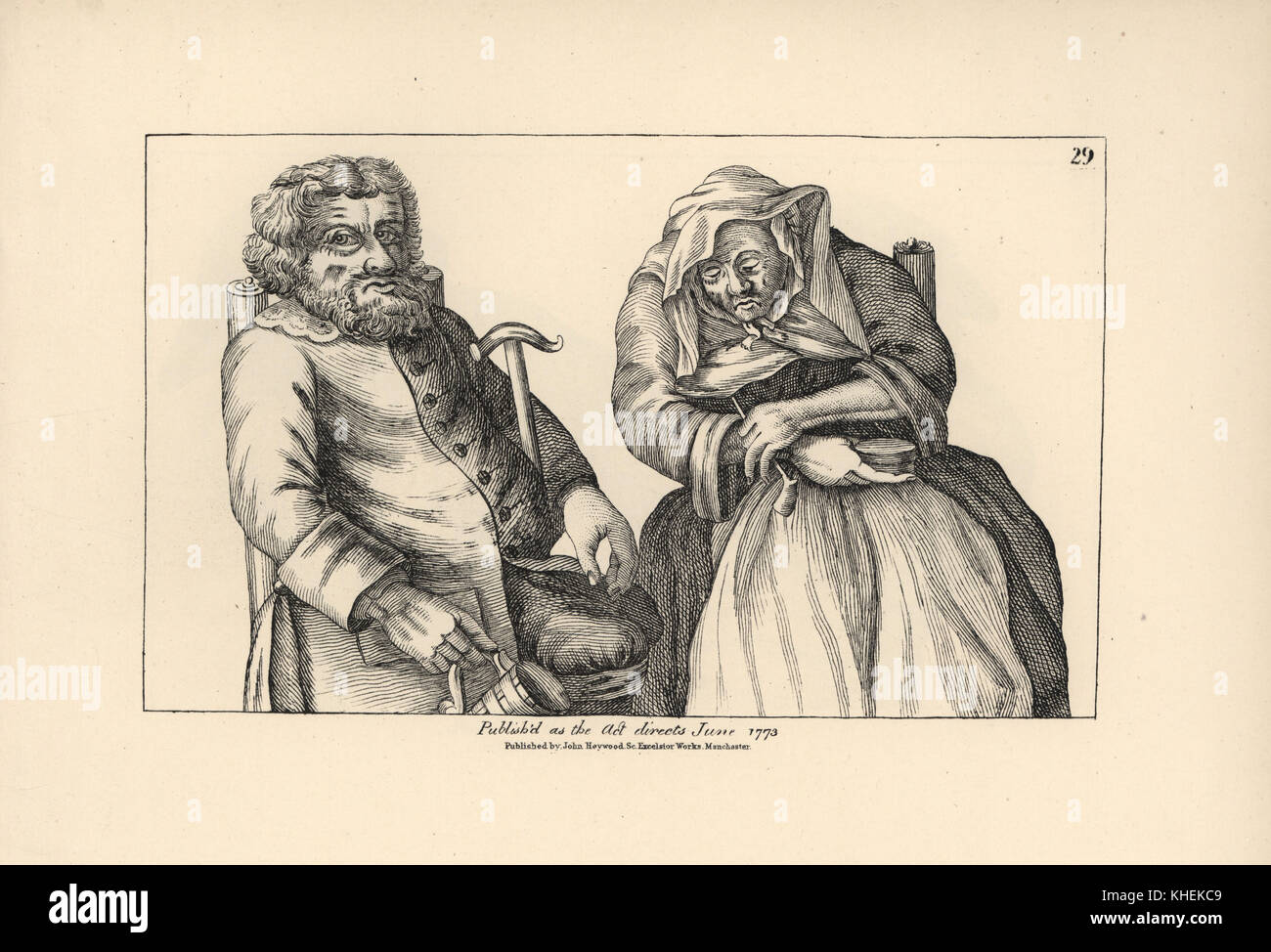 Old Darby with empty tankard and Joan with her tobacco pipe. Copperplate engraving after a satirical illustration - Stock Image