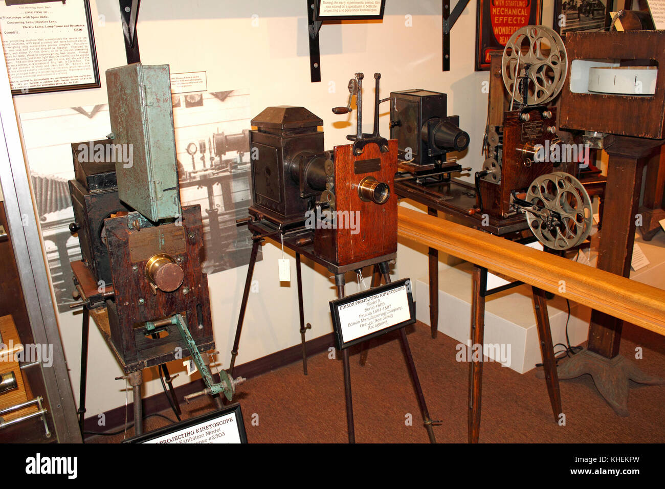 Movie projectors at the Edison and Ford Winter Estates museum at Ft Myers, Florida - Stock Image