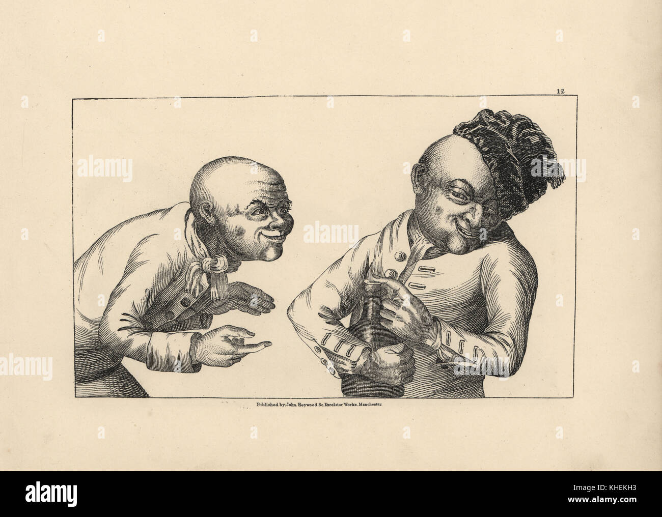 Rustics laughing as they share a bootle of liquor. Copperplate engraving after a satirical illustration by Timothy - Stock Image