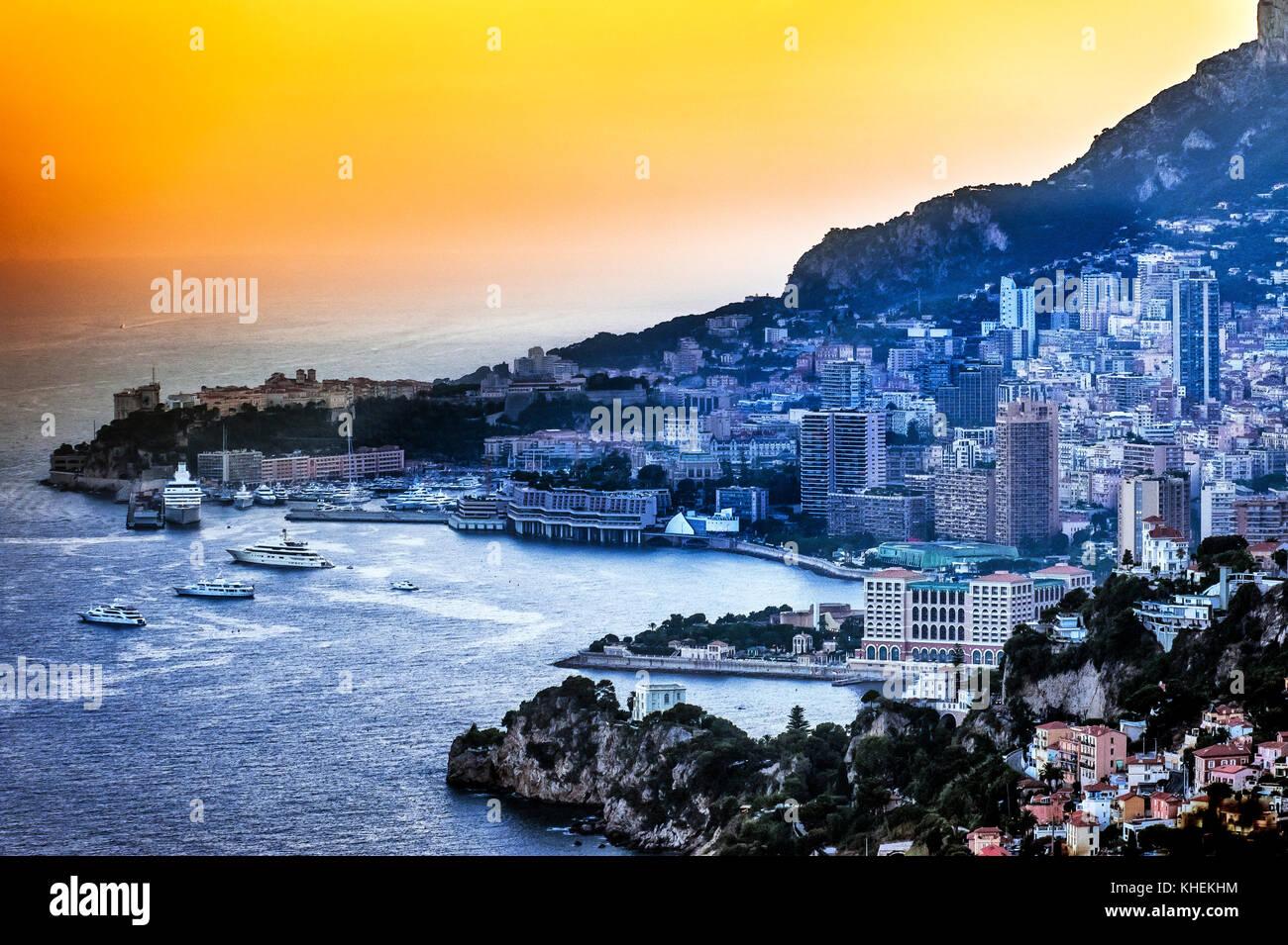 France, Principality of Monaco (98). Monte Carlo. Bay of Monaco at sunset - Stock Image