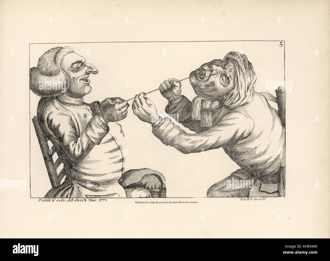 Physician laughing as he pulls a patient's tooth with string. Copperplate engraving after a satirical illustration - Stock Image
