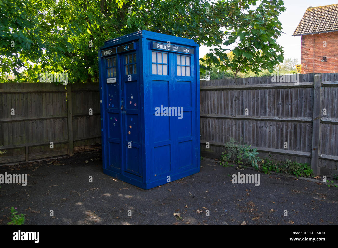 A blue police box, callbox, telephone kiosk. Rye, East Sussex - Stock Image