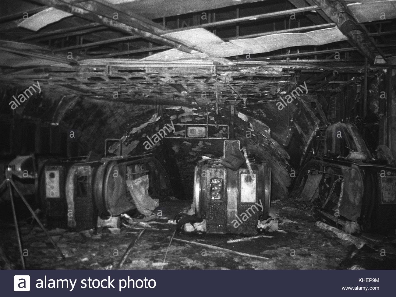 Embargoed to 0001 Friday November 17 File photo dated 18/11/87 of the fire-damaged escalators at King's Cross - Stock Image