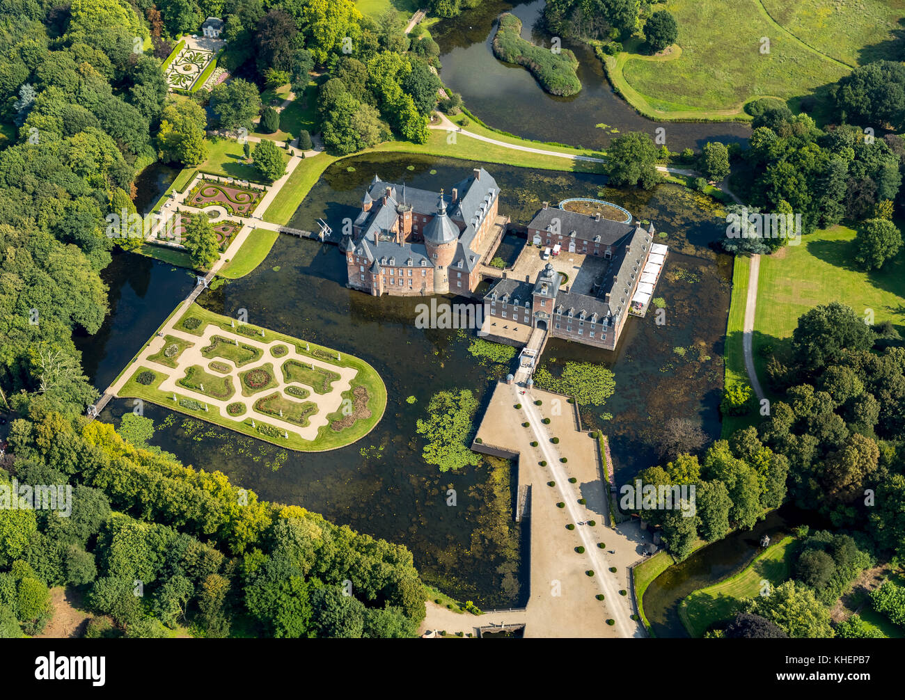 Romantik Parkhotel moated castle Anholt, Museum moated castle Anholt, with baroque garden, Wasserschloss Anholt, - Stock Image