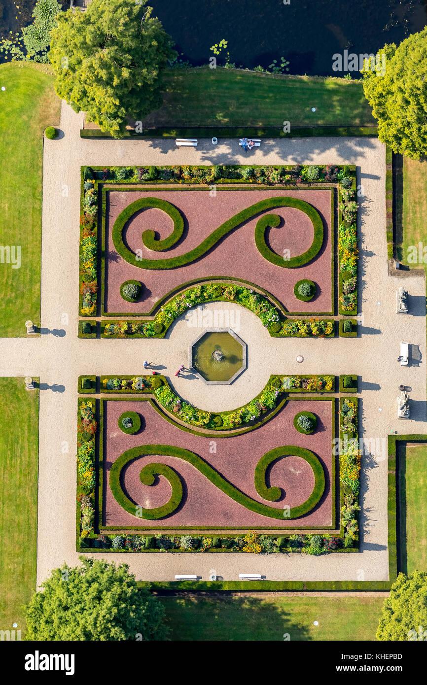 Baroque garden, Anholt moated castle, Isselburg, North Rhine-Westphalia, Germany - Stock Image