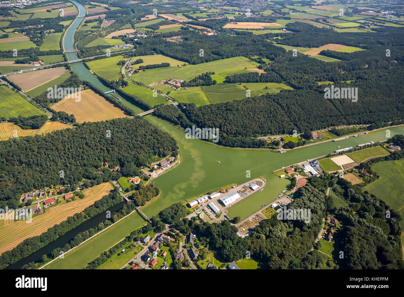 Dortmund-Ems Canal, junction to the Mittellandkanal, Canal junction, Am Nassen Dreieck, Ibbenbüren, North Rhine Stock Photo